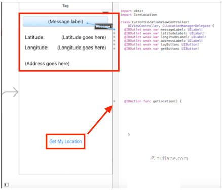 ios location app map controls to viewcontroller.swift file in xcode