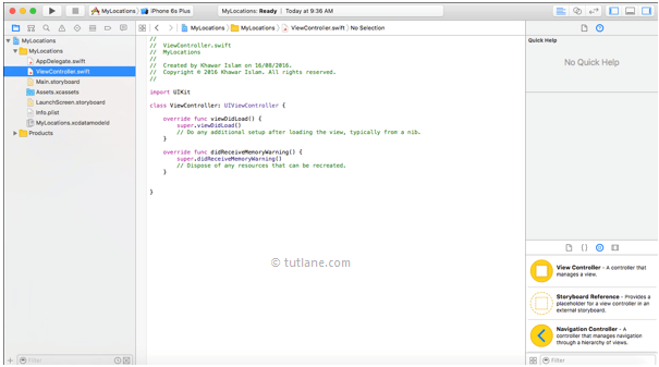 ios location app viewcontroller.swift file in xcode editor