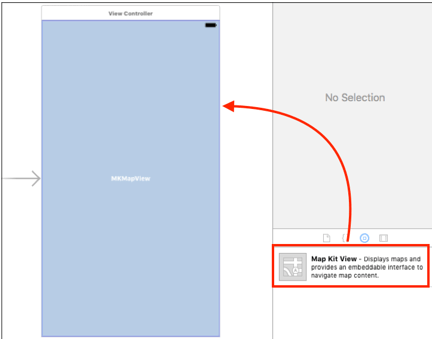 ios mapview add map kit view in storyboard file in xcode