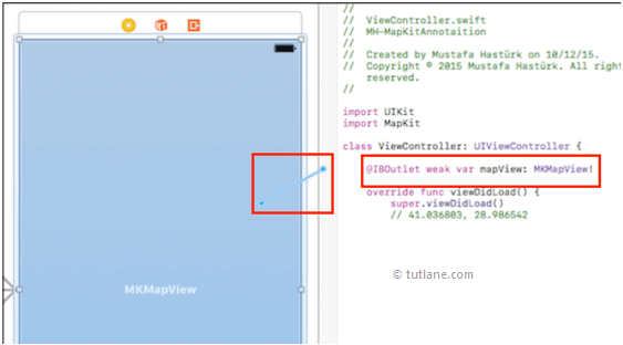 ios mapview map controls to viewcontroller.swift file in xcode