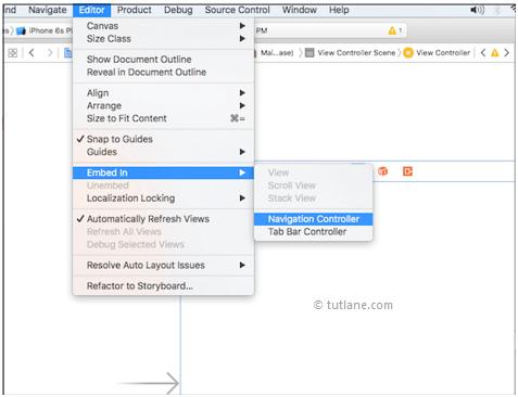 iOS UI Navigation Bar (UINavigationController) - Tutlane