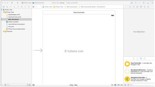 ios ui pickerview project storyboard file in xcode