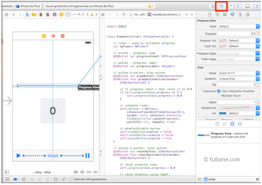 ios progress bar map controls to code in xcode