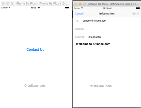 ios send email app example result or output