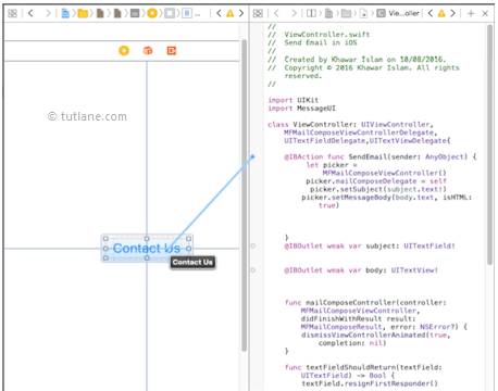 ios send email app map controls to viewcontroller.swift file in xcode