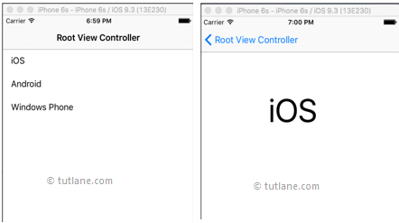 iOS splitview application example result in iphone