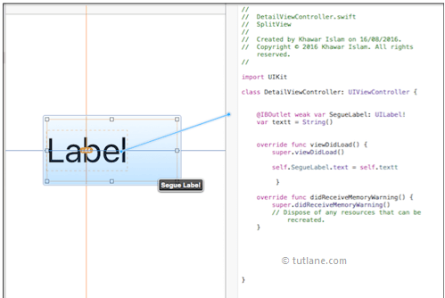 ios splitview map label control to viewcontroller code in xcode
