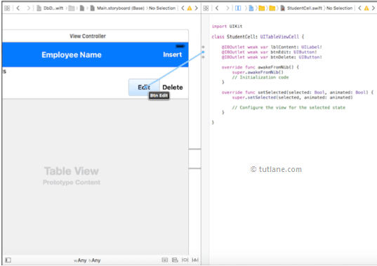 ios sqlite database app map controls to viewcontroller.swift file in xcode