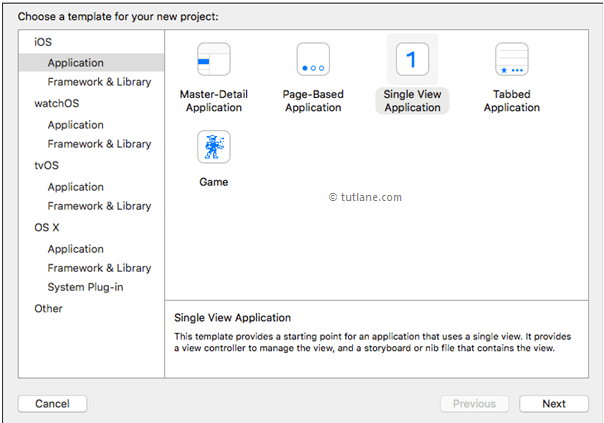 Select single view application from ios xcode templates