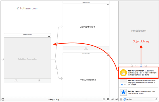 ios tab bar application add controls to storyboard in xcode