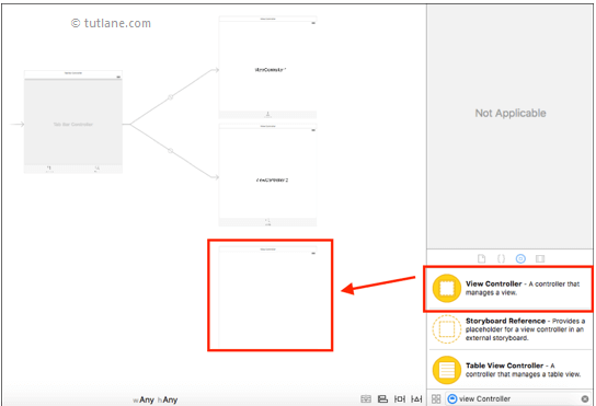 ios tab bar application add viewcontroller to storyboard in xcode