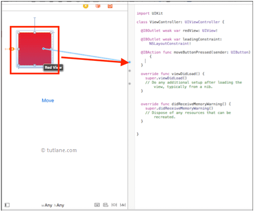 ios view transitions map controls to viewcontroller.swift file in xcode