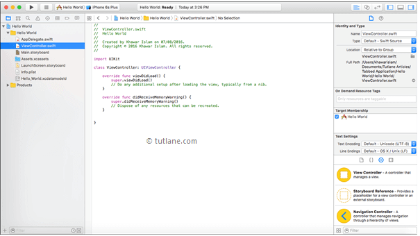 Viewcontroller.swift file in iOS Xcode project with example