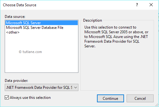 Choose SQL Server Data Source in LINQ to Entities Application