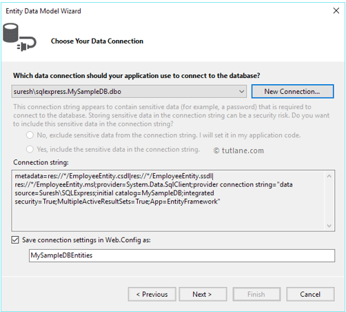 After adding new sql database connections to entity framework designer in linq to entities