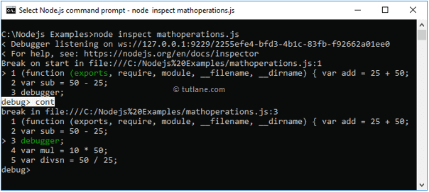Node.js debug application with cont line command