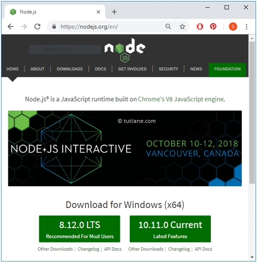 Dowload Node.js for Windows from Node.js Site