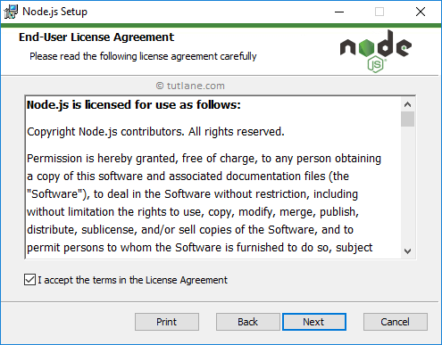Node.js Installation - Accept Terms and Conditions