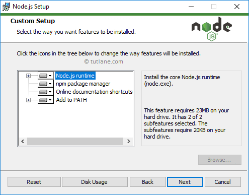 Node.js installation - Select node.js features to install