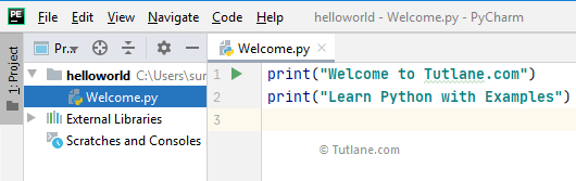 Write python code in pycharm editor