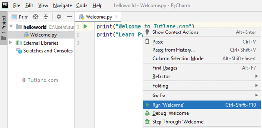 Execute python code in pycharm editor