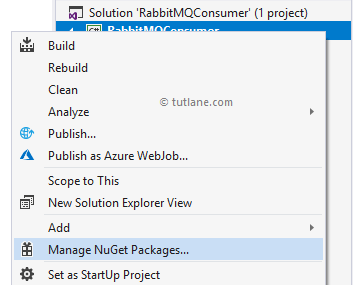 C# Add RabbitMQ.Client Nuget Package Reference to Application