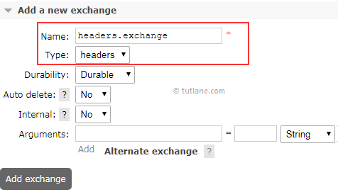 Create Headers Exchange in RabbitMQ Web Management Portal