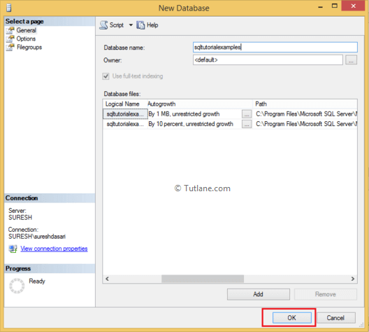 give name to create new database in sql server management studio
