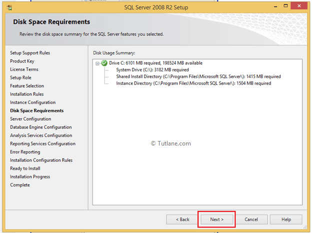 Checking disk space requirement to install sql server