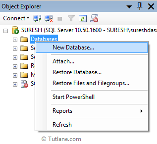 Create database using sql server management studio