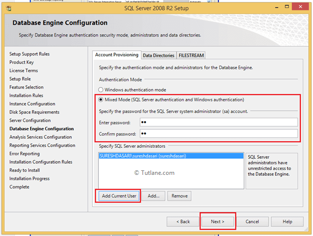 Database Configuration Settings to Install SQL Server