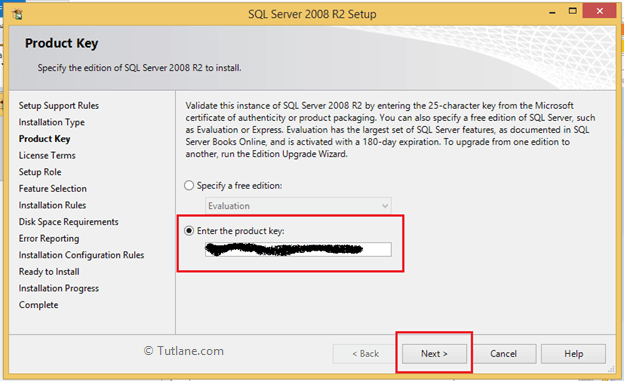 Enter product key to install sql server