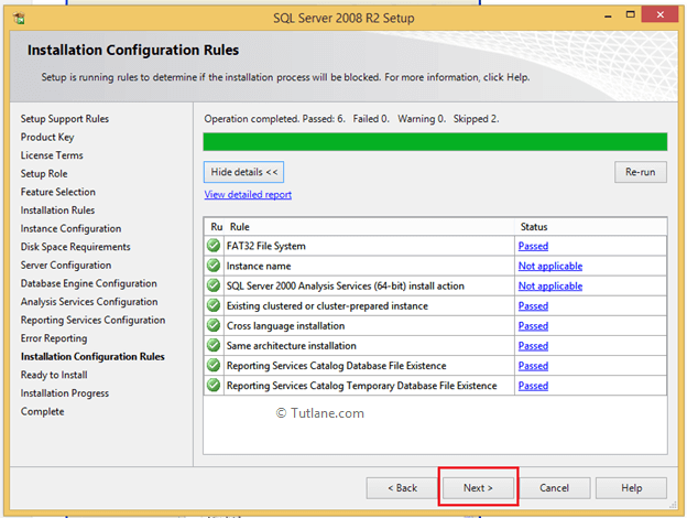 Installation Configuration Rules test Results to Install SQL Server