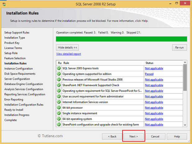 Installation rules status to install sql server