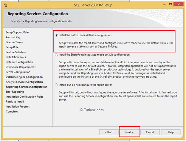 select install the native mode default option to install sql server