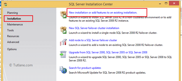 Select new installation or add features to an existing application to install sql server