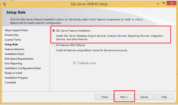 Select SQL Server Feature Installation