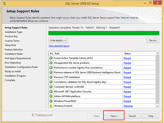 After completion of setup rules checking in sql server installation