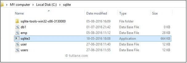 Open sqlite3 exe file to create new database