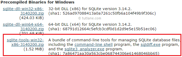 Download and install sqlite on windows