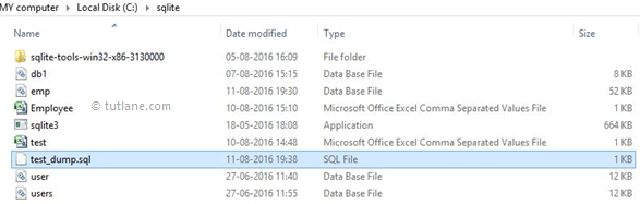 SQLite Dump Database Table to Output File in Specified Folder