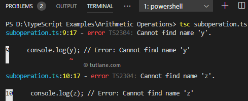 Typescript let variables scope example result