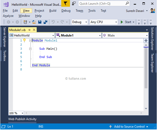 After Creating Visual Basic Console Application using Visual Studio